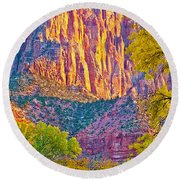 Watchman's Peak In Zion National Park-utah Round Beach Towel