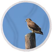 Watchtower-hawk Round Beach Towel