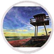 Watchtower On The Beach Round Beach Towel