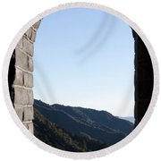 Watchtower View From The Great Wall 1082 Round Beach Towel