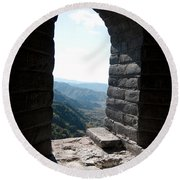 Watchtower Window View From The Great Wall 637 Round Beach Towel