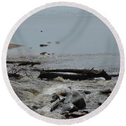 Water And Rocks Round Beach Towel