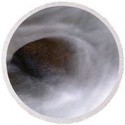 Water Around A Rock Round Beach Towel