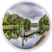 Water Bus Stop Bute Park Cardiff Round Beach Towel