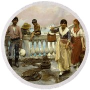 Water Carriers. Venice Round Beach Towel