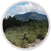 Water-carved Base Rock And Mt Baldy Round Beach Towel