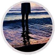 Water Color Echos Round Beach Towel