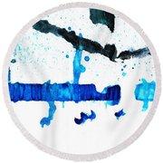 Water Dance - Blue And White Art By Sharon Cummings Round Beach Towel