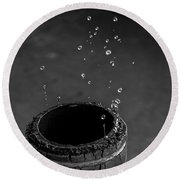 Water Dripping Up The Spout Round Beach Towel by Bob Orsillo