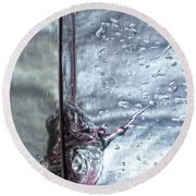 Water Drops Abstract2 Round Beach Towel