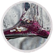 Water Drops Abstract3 Round Beach Towel