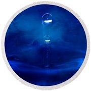 Water Drops Round Beach Towel