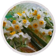 Water Drops On A Bouquet Round Beach Towel