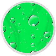 Water Drops On Green Round Beach Towel