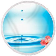 Water Drops Rising From Water Rings Round Beach Towel