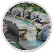 Water Fall In The Gratto Round Beach Towel