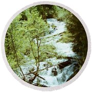 water fall Lolo pass 2 Round Beach Towel