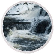 Water Fall On The River Round Beach Towel