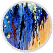 Water Fountain Abstract31 Round Beach Towel