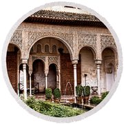 Water Gardens Of The Palace Of Generalife Round Beach Towel