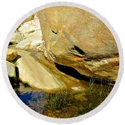 Water In Oasis On Borrego Palm Canyon Trail In Anza-borrego Desert Sp Campground-ca  Round Beach Towel