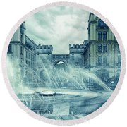 Water In The City Round Beach Towel