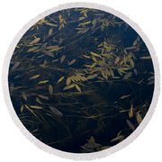 Water Leaves Round Beach Towel