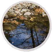 Water Leaves Stones And Branches Round Beach Towel