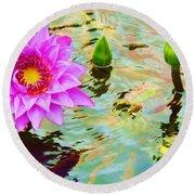 Water Lilies 002 Round Beach Towel