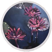 Water Lilies At Sunset Round Beach Towel