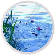 Water Lilies Blue Round Beach Towel