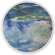 Water Lilies Giverny Round Beach Towel