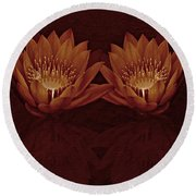 Water Lilies In Deep Sepia Round Beach Towel
