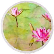 Water Lilies Inspired By Monet Round Beach Towel