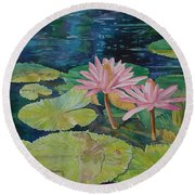 Water Lily In The Morning Round Beach Towel