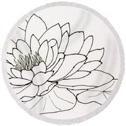 Water Lily Line Drawing Round Beach Towel