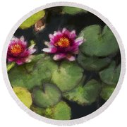 Water Lily Neo Round Beach Towel