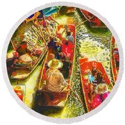 Water Market Round Beach Towel
