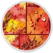 Water On Color Collage Eight Round Beach Towel