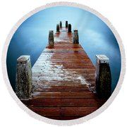 Water On The Jetty Round Beach Towel