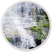 Water Over Rocks At Misty Fjords National Monument-alaska Round Beach Towel
