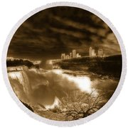 The Mighty Power Of The Falls Round Beach Towel
