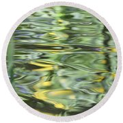 Water Reflection Green And Yellow Round Beach Towel