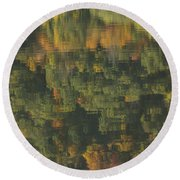 Water Reflections Abstract Autumn 2 A Round Beach Towel