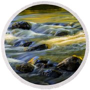 Beautiful Water Reflections On The Flowing Thornapple River Round Beach Towel