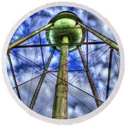 Mary Leila Cotton Mill Water Tower Art  Round Beach Towel
