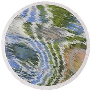Water Ripples In Blue And Green Round Beach Towel