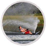Water Skiing 10 Round Beach Towel
