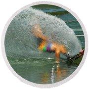 Water Skiing 5 Magic Of Water Round Beach Towel