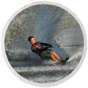 Water Skiing Magic Of Water 13 Round Beach Towel by Bob Christopher